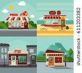 colorful building facades... | Shutterstock .eps vector #611203382