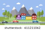 street and houses. town scene... | Shutterstock .eps vector #611211062