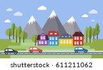 street and houses. town scene... | Shutterstock .eps vector #611211062
