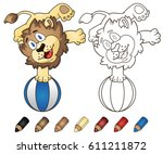 cute lion with ball.... | Shutterstock . vector #611211872