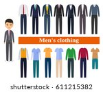 men's clothing. business... | Shutterstock .eps vector #611215382