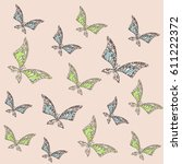 seamless pattern with flying... | Shutterstock .eps vector #611222372