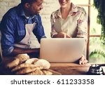 bread shop bake dough flour... | Shutterstock . vector #611233358