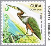 Small photo of CUBA - CIRCA 1989: A stamp printed in Cuba shows Agamia agami, series, circa 1989