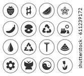 set of 16 natural filled icons... | Shutterstock .eps vector #611239172