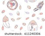 seamless pattern on white... | Shutterstock .eps vector #611240306