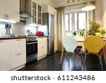 interior of the kitchen in... | Shutterstock . vector #611243486