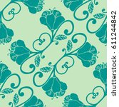 colorful hand drawn floral... | Shutterstock .eps vector #611244842