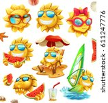 fun summer sun  vector... | Shutterstock .eps vector #611247776