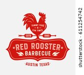 red rooster vintage badge.... | Shutterstock .eps vector #611254742