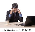 usinessman having stress in the ... | Shutterstock . vector #611254922