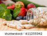 vitamins supplements in the...   Shutterstock . vector #611255342