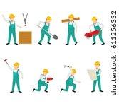 construction worker character... | Shutterstock .eps vector #611256332