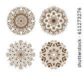 henna tattoo brown mehndi... | Shutterstock .eps vector #611273276