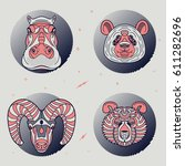 set of thin line animal labels. ... | Shutterstock .eps vector #611282696