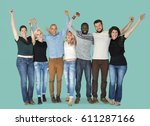happiness group of people... | Shutterstock . vector #611287166