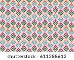 tribal flower seamless pattern  ... | Shutterstock .eps vector #611288612