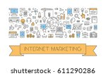 line web banner for internet... | Shutterstock . vector #611290286