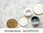 ceramic tableware top view on... | Shutterstock . vector #611292152