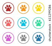 animal footprint icon colorful... | Shutterstock .eps vector #611299286