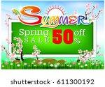 inscription spring time on... | Shutterstock .eps vector #611300192