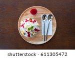 kakigori strawberry cheesecake. ... | Shutterstock . vector #611305472