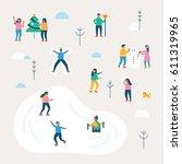 winter season background people ... | Shutterstock .eps vector #611319965