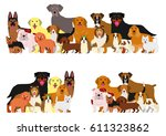 Stock vector dogs group border set 611323862