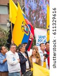 Small photo of Quito, Ecuador - March 26, 2017: Guillermo Lasso, candidate for the CREO movement, along with his binomial, Andres Paez during electoral campaign