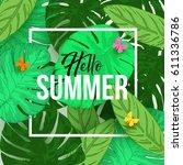 hello summer typographical... | Shutterstock .eps vector #611336786
