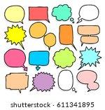 balloon speech doodle set | Shutterstock .eps vector #611341895