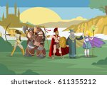role videogame rpg warriors and ... | Shutterstock .eps vector #611355212
