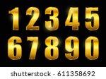 set of gold numbers.vector... | Shutterstock .eps vector #611358692