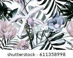 seamless tropical flower  plant ... | Shutterstock . vector #611358998