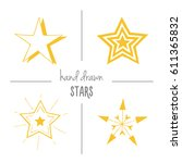 set of yellow hand drawn doodle ...   Shutterstock .eps vector #611365832