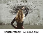 woman with the concept of the... | Shutterstock . vector #611366552