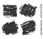 set of black ink brush strokes... | Shutterstock .eps vector #611371226