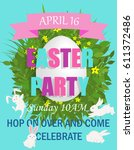 easter party invitation with... | Shutterstock .eps vector #611372486