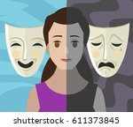 bipolar double personality... | Shutterstock .eps vector #611373845