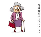 old lady with walking stick.... | Shutterstock .eps vector #611375462