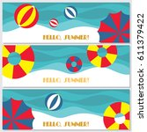 doodle summer banners set. ... | Shutterstock .eps vector #611379422