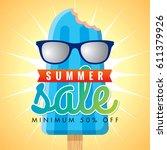 summer sale banner design... | Shutterstock .eps vector #611379926