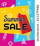 summer sale banner design... | Shutterstock .eps vector #611379986