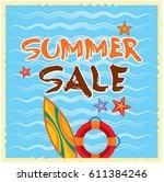 summer sale banner design... | Shutterstock .eps vector #611384246