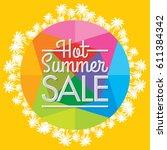 summer sale banner design... | Shutterstock .eps vector #611384342