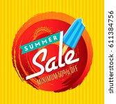 summer sale banner design... | Shutterstock .eps vector #611384756