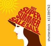 summer sale banner design... | Shutterstock .eps vector #611384762