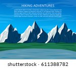 mountains  lake and grass.... | Shutterstock .eps vector #611388782