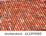 roof tiles made of terracotta.... | Shutterstock . vector #611395085