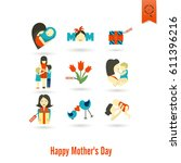 happy mothers day simple flat... | Shutterstock .eps vector #611396216